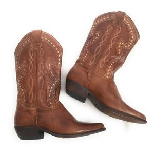 Guess by Marciano Brown Leather Western Boots 7